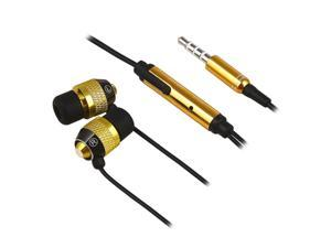 Insten 3.5mm In-Ear Stereo Headset w/ On-off & Mic Compatible with HTC One M7, Gold / Black