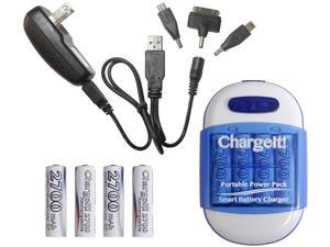 PC Treasures Blue ChargeIt! Portable Power Pack for Charging Mobile Devices 08857