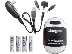 PC Treasures Black ChargeIt! Portable Power Pack for Charging Mobile Devices 08858