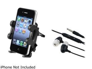 Insten Black Car Air Vent Phone Holder+Black 3.5mm In-Ear Stereo Headset w/ On-off & Mic Compatible With Motorola DROID 2 A955