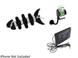 Insten Mount + Audio Tape Adapter + Fishbone Wrap Compatible with Samsung Galaxy S3 i9300 S4 i9500
