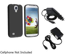 Insten Black Silicone Skin Cover Case + Travel/Wall Charger + Car Charger Compatible with Samsung Galaxy S4 / S IV / i9500
