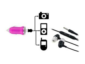 Insten Black 3.5mm In-Ear Stereo Headset w/ On-off & Mic+Hot Pink USB Mini Car Charger Adapter Compatible With Samsung Galaxy S3 i9300 i535 T999 L710