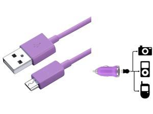 Insten Purple Mini Car Charger + USB Cable Compatible with Samsung Galaxy S4 SIV i9500 S3 i9300 N7100