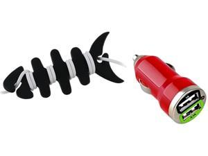 Insten Mini Red Car Charger + Fishbone Wrap Compatible with Samsung Galaxy S3 SIV I9300 Note 2 S4 i9500