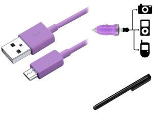 Insten Car Charger + Cable + Black Stylus Compatible with Samsung Galaxy S4 SIV i9500 S3 i9300 N7100