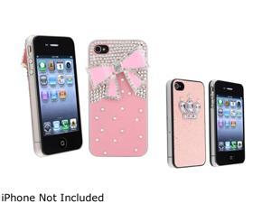 Insten 2 packs of Snap on Hard Cases (Pink 3D Bling Crystal Diamond & Ribbon, Pink Glitter with Crown Rear) for Apple iPhone ...