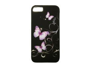 Luxmo Purple Butterfly Rubberized Snap-on Case For iPhone 5 CRIP5BKPPBF