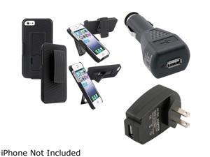 Insten Black Case / Holster Combo & USB Car Charger & USB Travel Charger For iPhone 5 907622