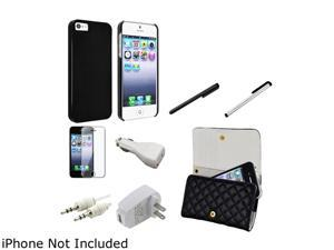 Insten Black Slim Case & Screen Protector & Wallet Case & Car Charger & Travel Charger & 2 Stylus For iPhone 5 907329