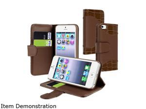Insten Brown Crocodile Skin Leather Case w/ Card Holder For iPhone 5 / 5S 823683