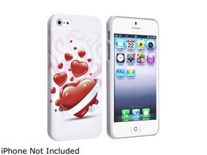 Insten White Red Heart Snap-on Rubber Coated Case For iPhone 5 / 5S 823652