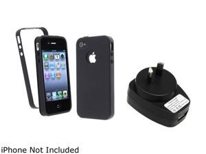 Insten Black TPU / Black Trim TPU Rubber Case & Travel Charger for iPhone 4 / 4S 823736