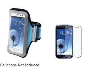 Insten Light Blue Armband & Colorful Diamond Screen Protector for Samsung Galaxy S3 826140