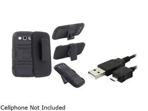 Insten Black Hybrid with Stand Holster Combo & Data / Charging Cable for Samsung Galaxy S3 826154