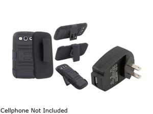 Insten Black Hybrid with Stand Holster Combo & Travel Charger for Samsung Galaxy S3 826156