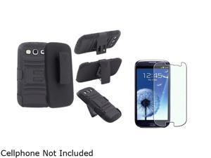 Insten Black Hybrid with Stand Holster Combo & Colorful Diamond Screen Protector for Samsung Galaxy S3 826150