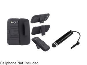 Insten Black Hybrid with Stand Holster Combo & Stylus for Samsung Galaxy S3 826152
