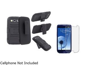 Insten Black Hybrid with Stand Holster Combo & Anti-Glare Screen Protector for Samsung Galaxy S3 826147