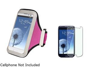 Insten Hot Pink Armband & Colorful Diamond Screen Protector for Samsung Galaxy S3 826145