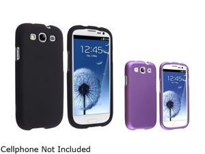 Insten Black & Purple Solid 2-Pack Snap-on Rubber Coated Case For Samsung Galaxy S3 674985