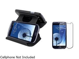 Insten Black Leather Flip Case & Reusable Screen Protector For Samsung Galaxy S3 674977