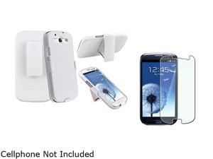Insten White Holster w/ Stand & Colorful Diamond Screen Protector For Samsung Galaxy S3 674976