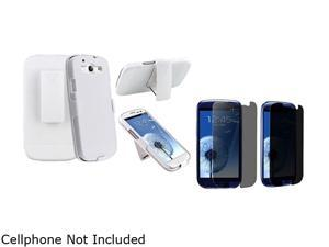 Insten White Holster w/ Stand & Privacy Screen Protector For Samsung Galaxy S3 674975