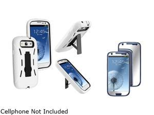 Insten Black Hard / White Skin Hybrid Case w/ Stand & Mirror Screen Protector For Samsung Galaxy S3 674959