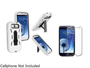 Insten Black Hard / White Skin Hybrid Case w/ Stand & Reusable Screen Protector For Samsung Galaxy S3 674957