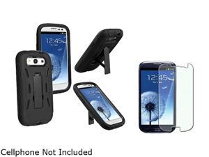Insten Black Hard / Black Skin Hybrid Case w/ Stand & Colorful Diamond Screen Protector For Samsung Galaxy S3 674956