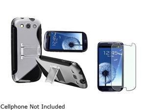 Insten Black TPU Rubber Skin Case w/ Stand & Colorful Diamond Screen Protector For Samsung Galaxy S3 674951