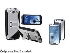 Insten Black TPU Rubber Skin Case w/ Stand & Mirror Screen Protector For Samsung Galaxy S3 674949
