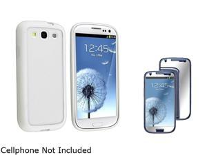 Insten Clear w/ White Trim TPU Rubber Skin Case & Mirror Screen Protector For Samsung Galaxy S3 674944