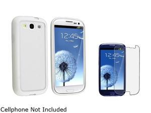 Insten Clear w/ White Trim TPU Rubber Skin Case & Anti-Glare Screen Protector For Samsung Galaxy S3 674943