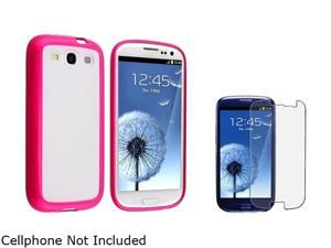 Insten Clear w/ Hot Pink Trim TPU Rubber Skin Case & Anti-Glare Screen Protector For Samsung Galaxy S3 674938