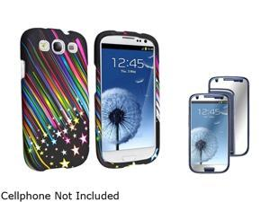 Insten Rainbow Star Snap-on Rubber Coated Case & Mirror Screen Protector For Samsung Galaxy S3 674919