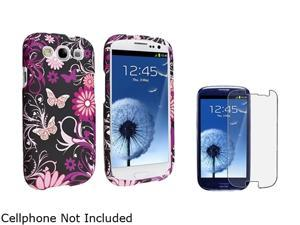 Insten Pink Butterfly Snap-on Rubber Coated Case & Anti-Glare Screen Protector For Samsung Galaxy S3 674913