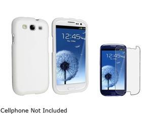 Insten White Solid Snap-on Rubber Coated Case & Anti-Glare Screen Protector For Samsung Galaxy S3 674908