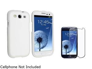 Insten White Solid Snap-on Rubber Coated Case & Reusable Screen Protector For Samsung Galaxy S3 674907