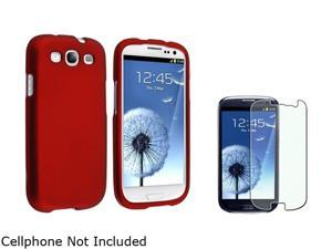 Insten Red Solid Snap-on Rubber Coated Case & Colorful Diamond Screen Protector For Samsung Galaxy S3 674906