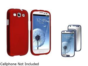 Insten Red Solid Snap-on Rubber Coated Case & Mirror Screen Protector For Samsung Galaxy S3 674904