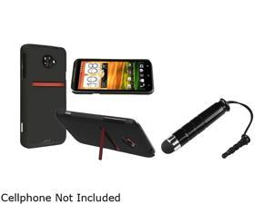 Insten Black Snap-on Rubber Coated Case & Stylus for HTC EVO 4G LTE 663133