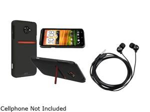Insten Black Snap-on Rubber Coated Case & Stereo Headset for HTC EVO 4G LTE 663132