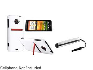 Insten White Snap-on Rubber Coated Case & Stylus for HTC EVO 4G LTE 663131
