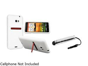 Insten White Silicone Skin Case & Stylus for HTC EVO 4G LTE 663125