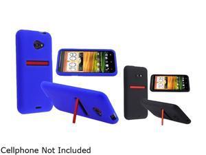 Insten Blue & Black 2-Pack Silicone Skin Case for HTC EVO 4G LTE 663075