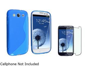 Insten Clear Blue S Shape TPU Rubber Skin Case & Colorful Diamond Screen Protector for Samsung Galaxy S3 658239