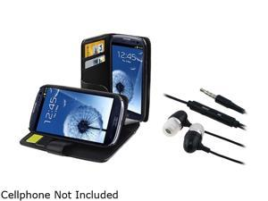 Insten Black Leather Case w/ Credit Card Wallet & Stereo Headset for Samsung Galaxy S3 658221