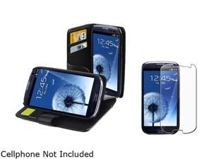 Insten Black Leather Case w/ Credit Card Wallet & Reusable Screen Protector for Samsung Galaxy S3 658220